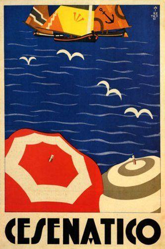 Cesenatico, Riviera Adriatica Italy. Vintage travel poster #beach #essenzadiriviera www.varaldocosmetica.it