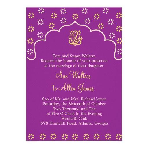 Purple And Gold Ganesh Wedding Invitation