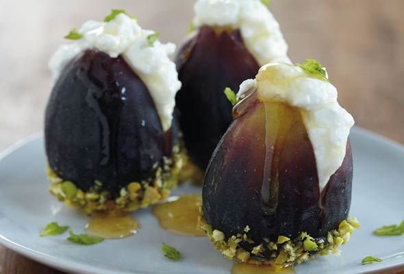 "Fresh figs stuffed with ricotta cheese, honey, fresh mint, and crunchy pistachio! From ""The Hadassah Everyday Cookbook"""