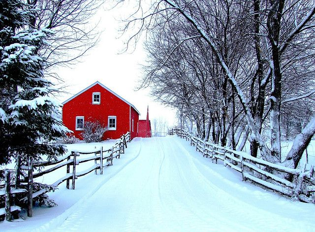 red barn in winter, where i would love to be this Christmas. We don't have snow here......this looks like Vermont?All we need is a sleigh!