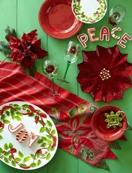 Pier 1 Jubilance Embroidered Poinsettia Table Runner brings a classic look to the holidays
