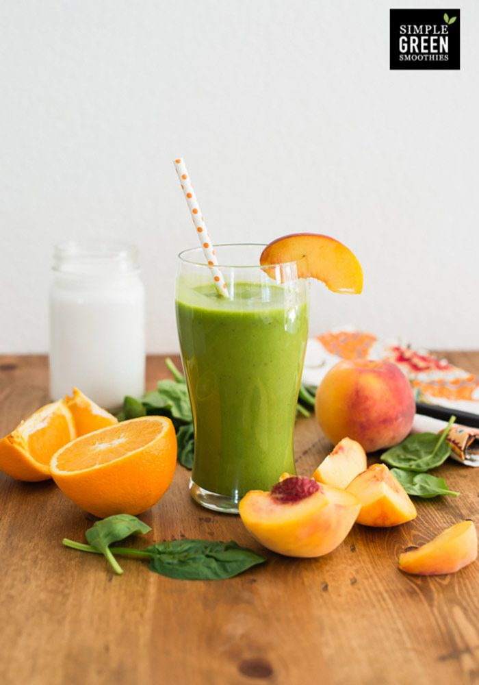 Coconut Peach Green Smoothie    This mouth-watering green smoothie almost tastes like a creamy peach milk shake with a tropical coconutty vibe. The orange adds a refreshing sweet-tart element that enhances the flavor of the smoothie. This smoothie involves just 4 basic ingredients, but the end product is simply outstanding.