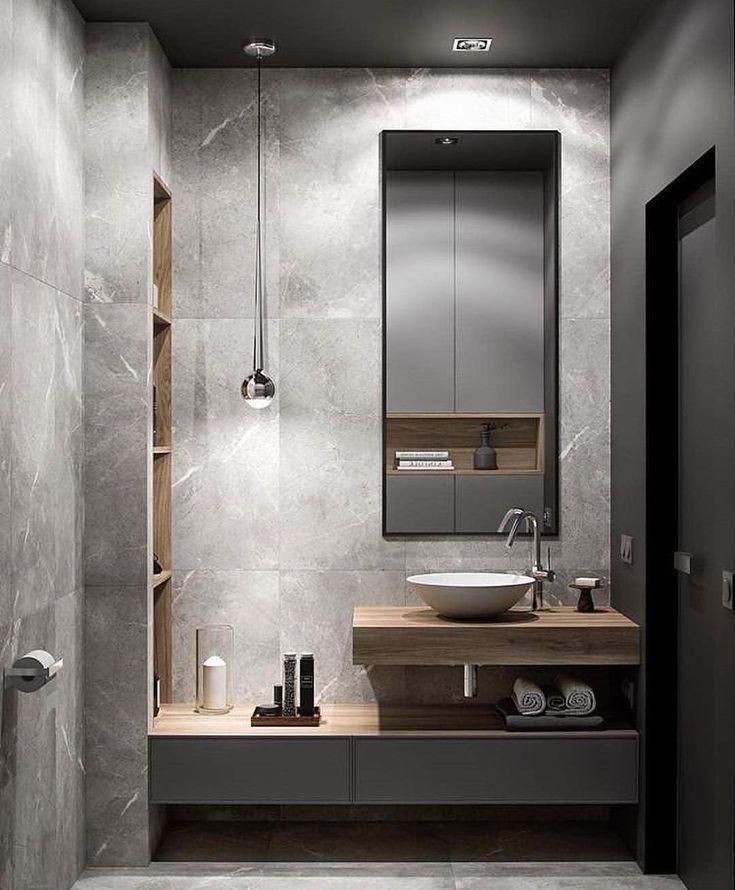 """Modernes Badezimmerdesign auf Instagram: """"_ 🏠 Diese schlanken Materialien passen perfekt"""