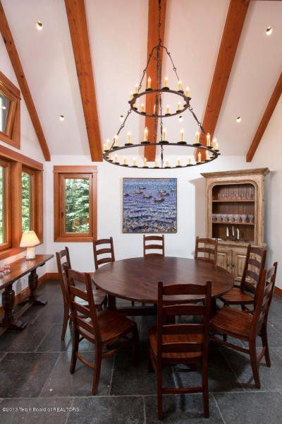 7.1 (42) dining chandelier This is how the world's richest woman lives: Christy Walton's Wyoming estate is for sale