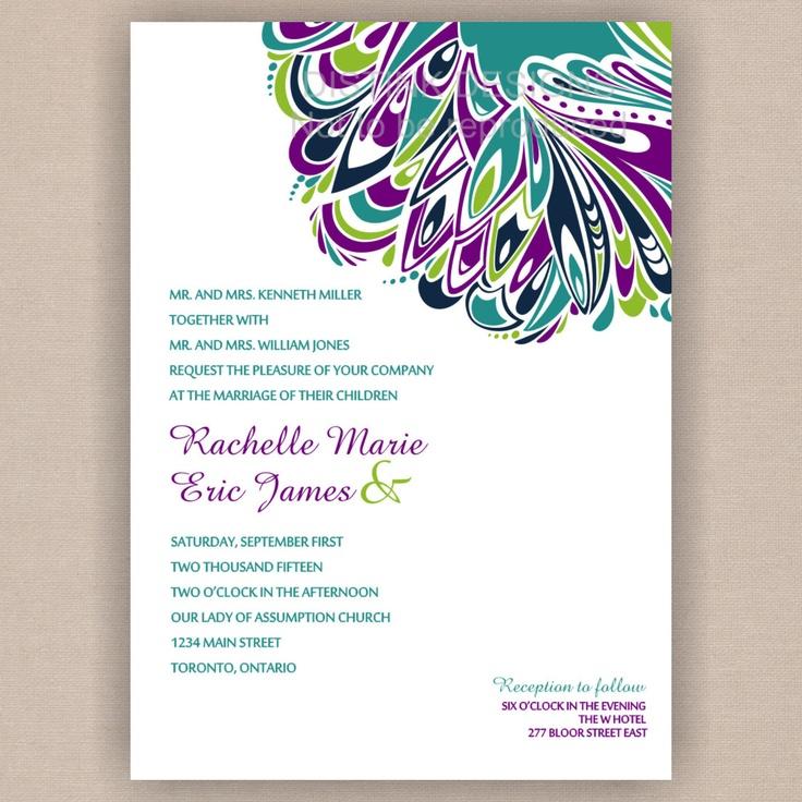 15 best wedding invites images on Pinterest | Peacock wedding ...