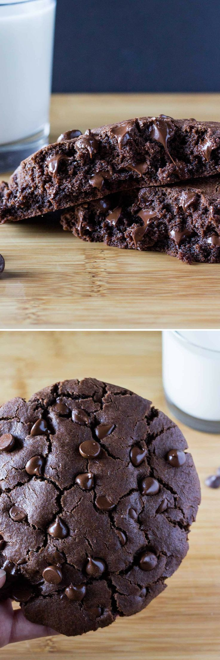 One XXL Giant Double Chocolate Cookie. It's thick, fudgy, oozing with melted chocolate, super easy to make and perfect for those late night cravings.
