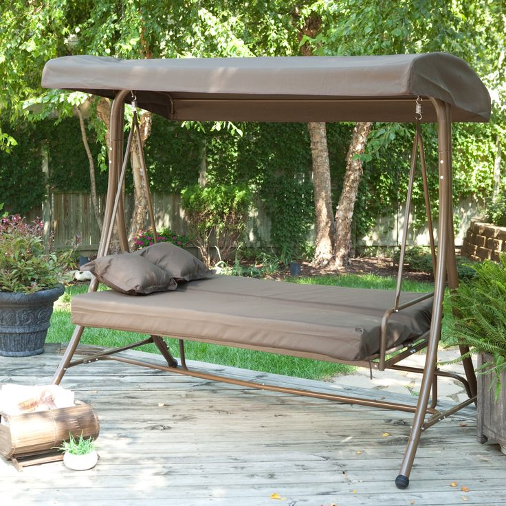 Coral Coast Siesta 3 Person Canopy Swing Bed - Chocolate - Porch Swings at Hayneedle