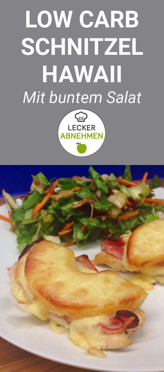 Low Carb Schnitzel Hawaii - ein einfaches Rezept, das köstlich schmeckt. Als Beilage gibt es einen bunten Salat. Das Low Carb Schnitzel Hawaii lässt sich auch perfekt in größeren Mengen vorbereiten und ist dadurch auch super geeignet, wenn Freunde zum Essen kommen oder die ganze Familie satt werden soll.