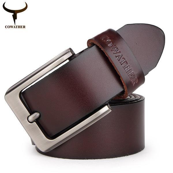 FuzWeb:COWATHER men belt cow genuine leather designer belts men high quality cinto masculino fashion vintage male strap for jaens
