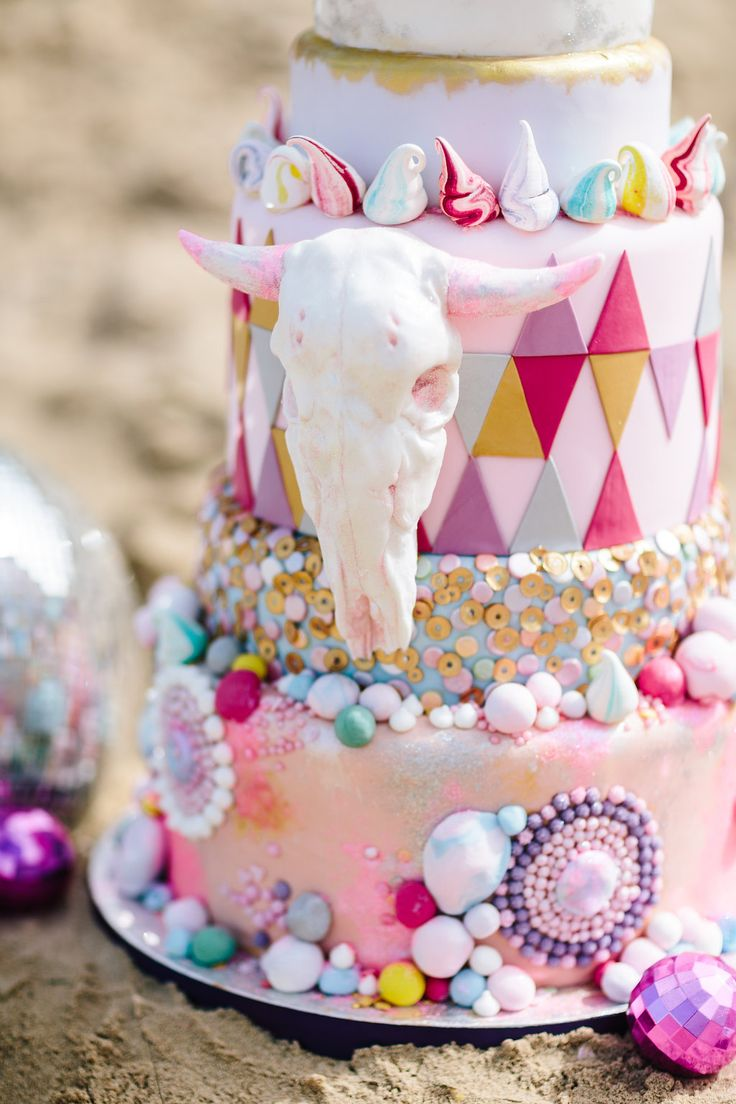 desert wedding cake with color - photo by Studio 1208 http://ruffledblog.com/burning-man-festival-wedding-inspiration