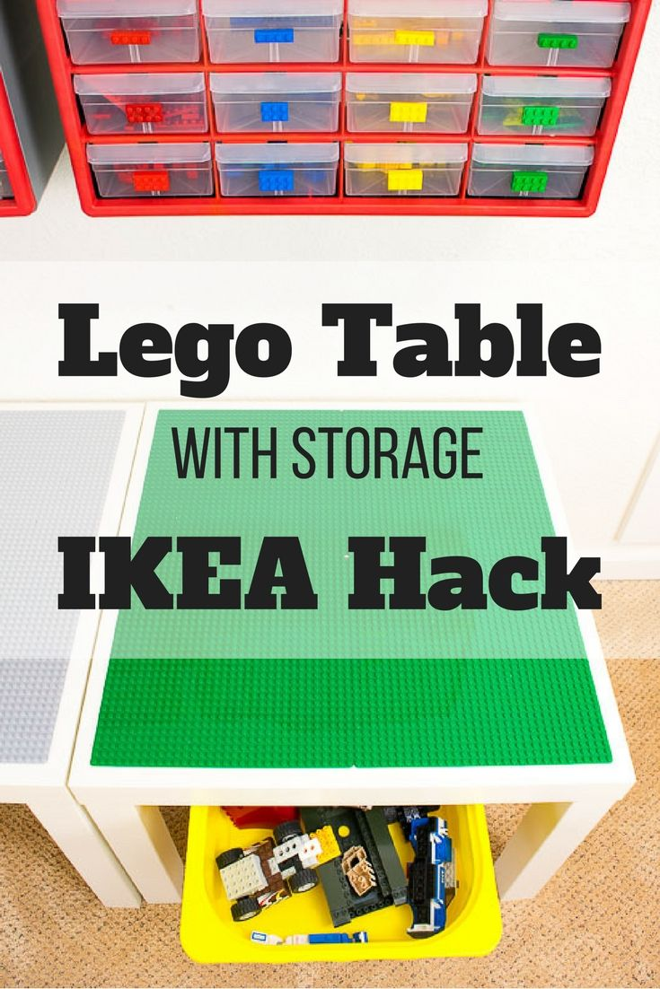 Need more Lego storage? This simple IKEA hack will add plenty of storage under the IKEA Lack table! Sort Lego pieces by color and shape with the overhead bins. What a great way to get some Lego organization in the kids playroom! #lego #legotable #legos #ikeahack