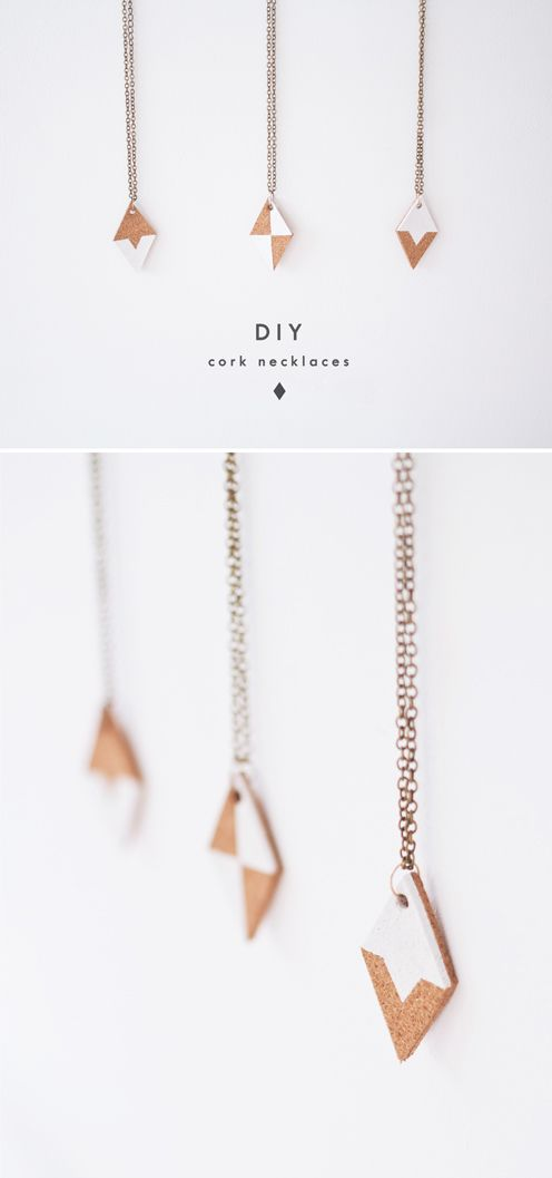 DIY cork diamond necklace tutorial
