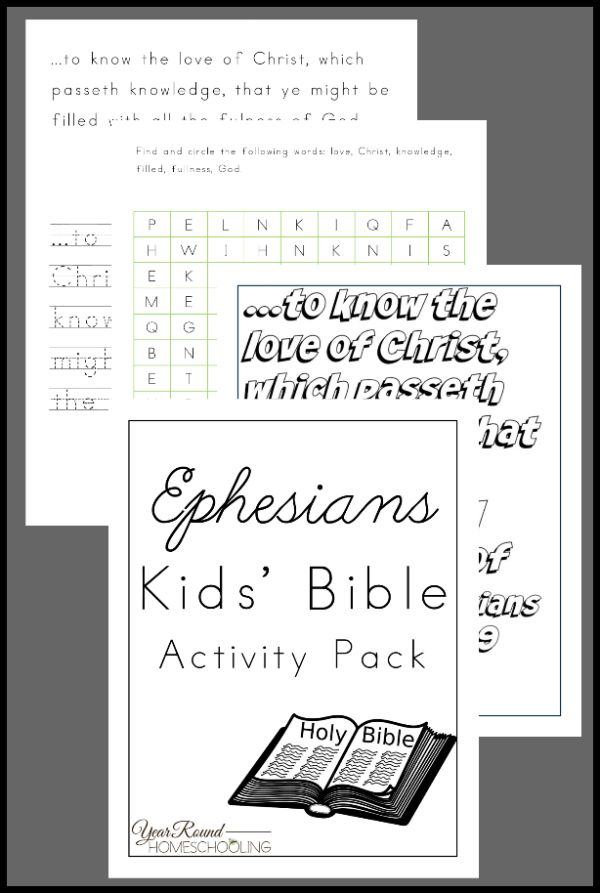 Ephesians Kids' Bible Activity Pack - By Year Round Homeschooling #Ephesians #Bible #Homeschooling