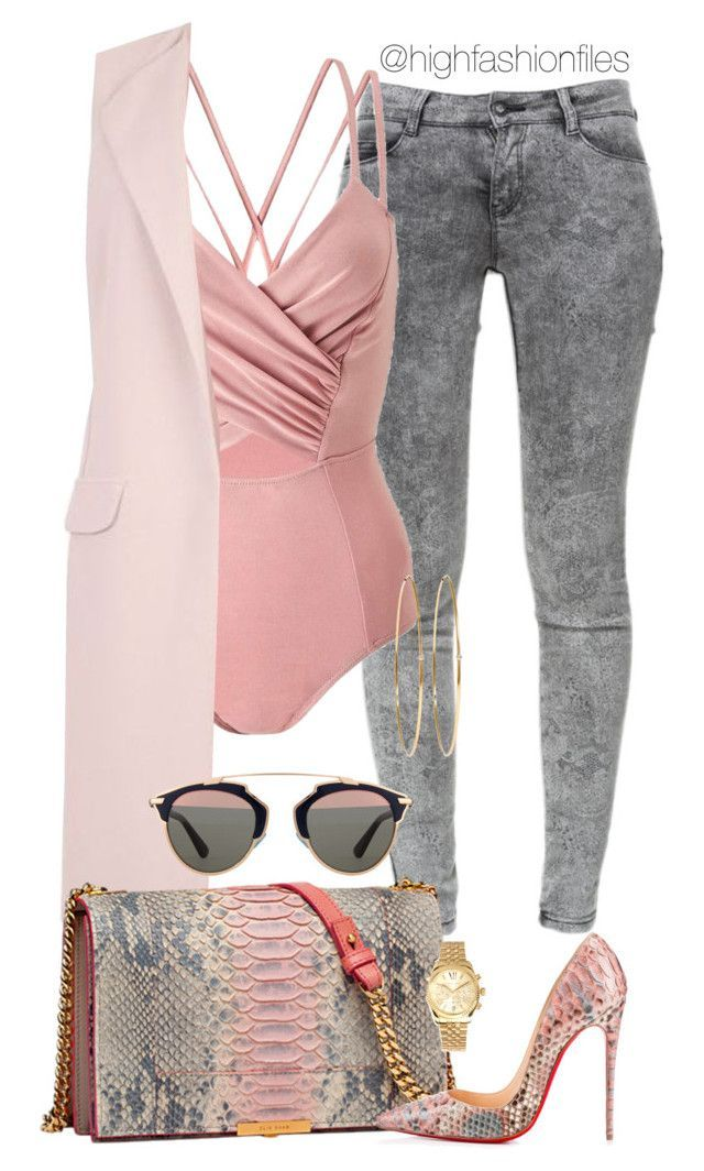 Tones by highfashionfiles on Polyvore featuring polyvore fashion style New Look Zara Miss Selfridge Christian Louboutin Michael Kors Jennifer Meyer Jewelry Christian Dior Elie Saab clothing