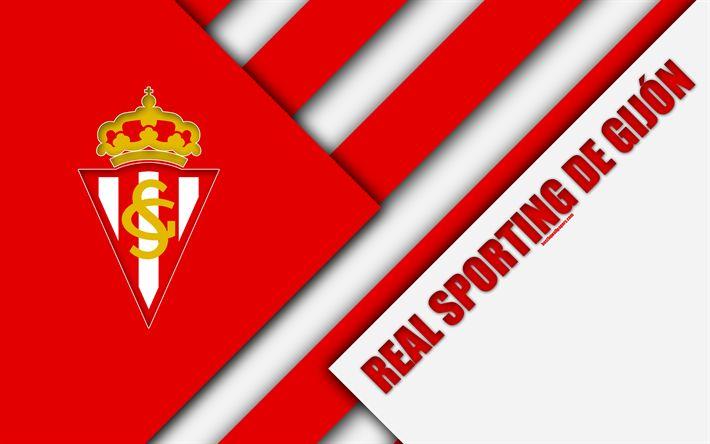 Download wallpapers Real Sporting de Gijon, 4k, material design, Spanish football club, red white abstraction, logo, Gijon, Spain, Segunda Division, football, Gijon FC