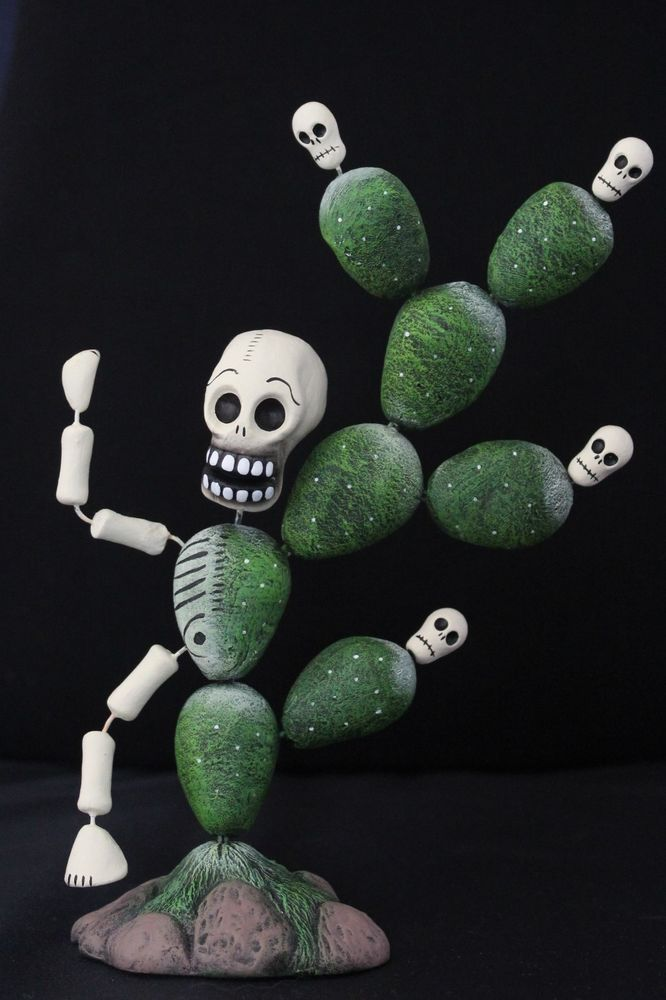 Day of the Dead, Cactus man Skeleton figure Mexican Folk Art, hand made Puebla !