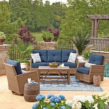Sunbrella Fabric All Weather Wicker Outdoor Patio Patio Seating Set