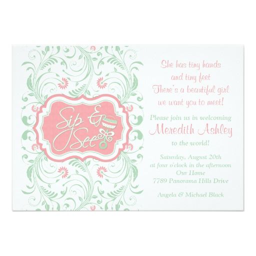 320 best images about pink green baby shower invitations on, Baby shower invitations