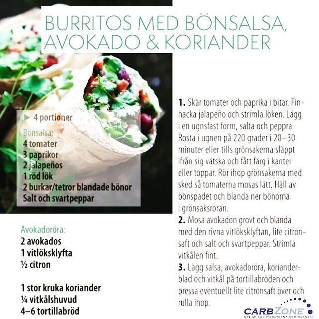 Hittade ett gott recept som kan göras med våra Low Carb® Tortillas. Enjoy! CARBZONE --- burrito bönor salsa koriander avokado
