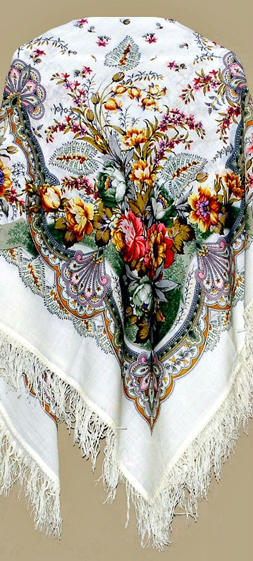 Pavlovo Posad shawl is a traditional folk fashion detail since the 60s of the 19th century until the 20th century. Though in 2011/12 I happened to see young Russian girls wearing the shawls on their necks as scarfs. ~ The production of shawls started in 1795 in Pavlovo Posad (Pavel's settlement), a village in Moscow region. In 1881 Duchess Alexandra Petrovna of Oldenburg, the great ... granddaughter of Pavel I of Russia, advanced Pavlovo Posad shawls to the court of the Romanovs