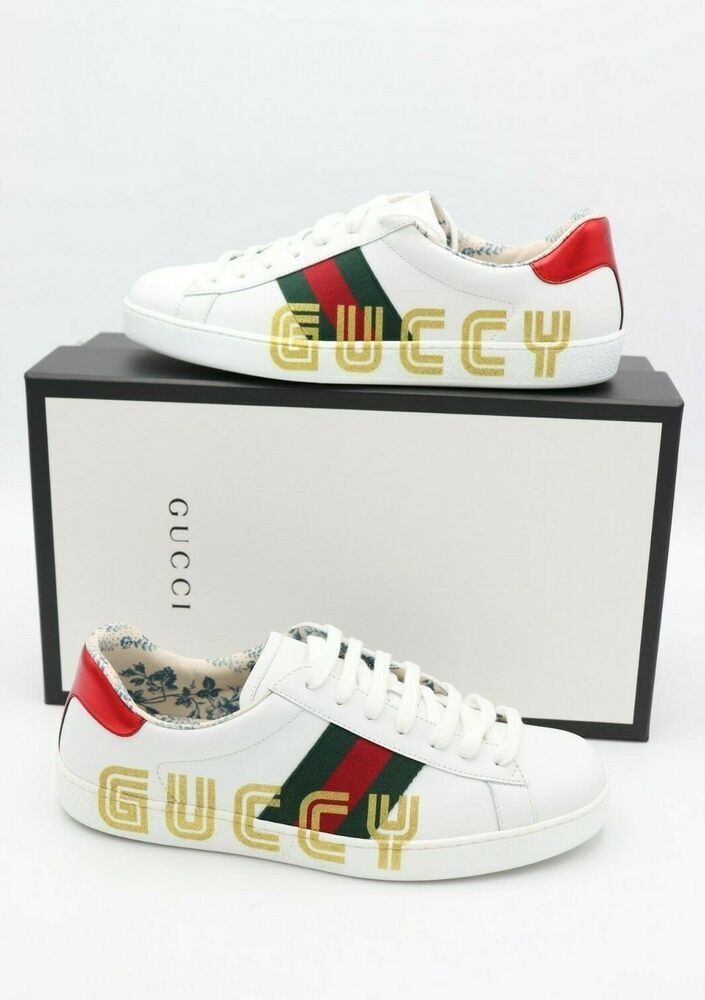 NIB Gucci Ace White Leather Guccy Print