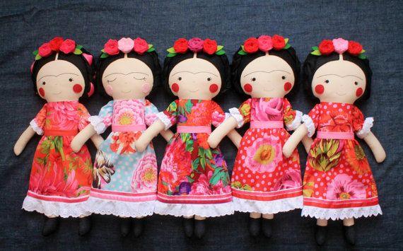 Made to Order  Frida Kahlo handmade dolls. Rag doll to por blita