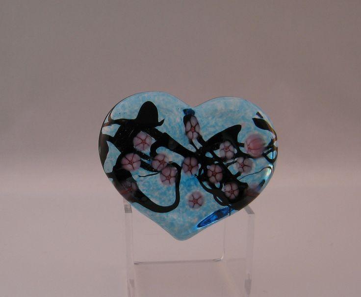 Blue Cherry Blossom Heart Paperweight