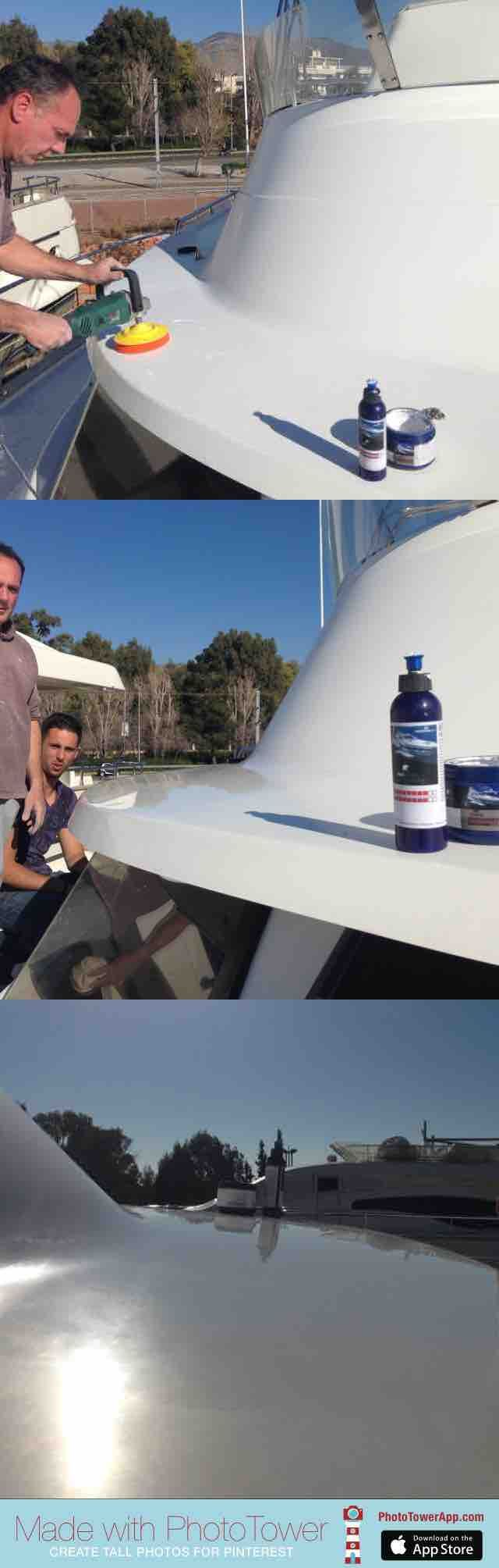 polishing a boat with faded gelcoat. Using PAI BOAT polishing pastes we achieved high glossiness