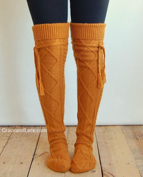 Love these! Alpine Thigh High Slouch Sock Goldenrod thick by GraceandLaceCo