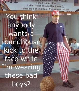 """i never noticed that banner in the back: """"I shall respect Rex, I shall never misuse rex kwon do i shall be champion of freedom and justice!"""" hahaha"""