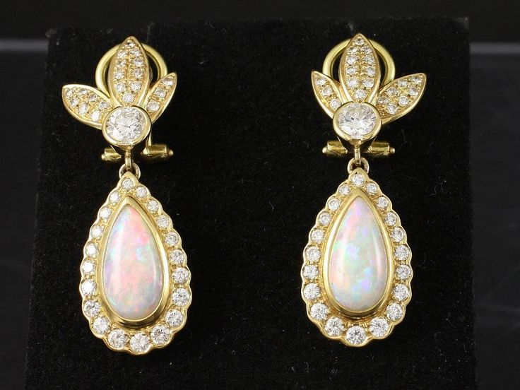 Exclusive earrings with Diamonds and Opals by ARTaVIP on Etsy https://www.etsy.com/listing/529579557/exclusive-earrings-with-diamonds-and
