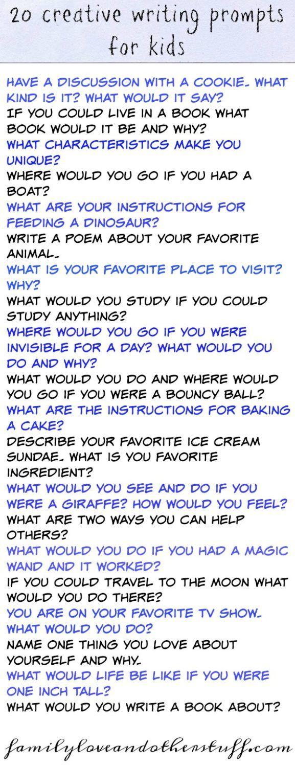 20 Creative Writing Prompts for Kids