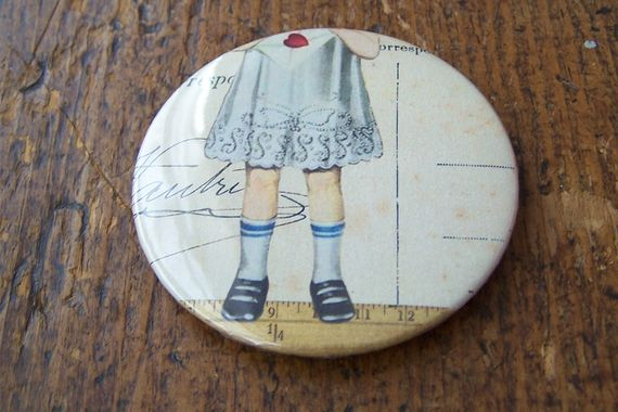 Little girl design magnet button  +-5.5cm