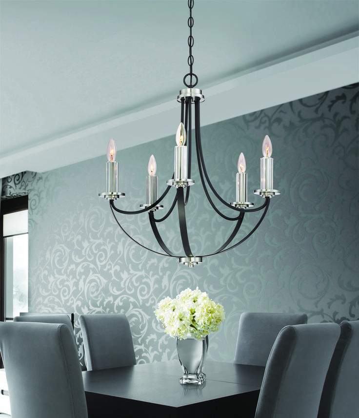 Alana Chandelier ANA5005K A Dual Finish And Fluted Crystal Bring Sophistication Style To The Collection Deep Mystic Black On