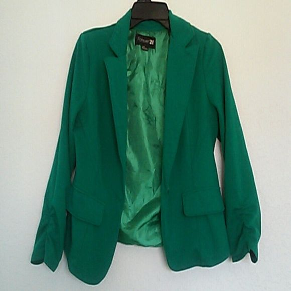Green favoulous dressy jacket I love this, it goes with skirts, pants, possibilities are endless, need to buy a bigger one, you will love it, taking offers?? Forever 21 Jackets & Coats