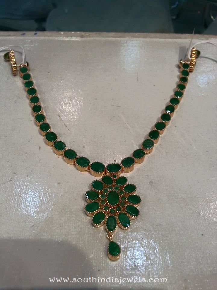 Gold Emerald Necklace Designs, Gold Necklace with Green Stones