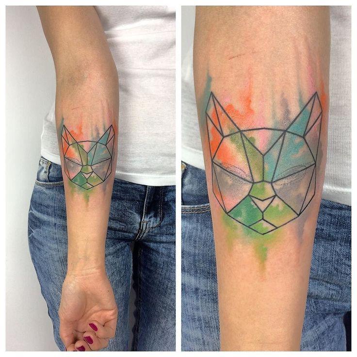 Blind cat  #tattoo #tattooart #tattooed #tatted #ink #inked #color #watercolor #watercolortattoo #cat #cattattoo #geometric #geometrictattoo #abstract #abstractart #abstracttattoo #forearmtattoo #girlswithtattoos #wctattoos #thinkbeforeuink #tattedskin #tattoodo #auckland #newzealand #Poland #Poznan #Gostyn #jazztattoo #jazztattoopoznan by mandrzejaktattoo