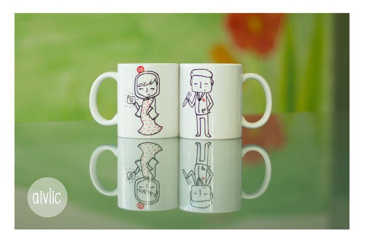 Tazas de desayuno personalizadas para una pareja de #chulapos #Madrid https://www.facebook.com/lastazasdesilvia?ref=hl