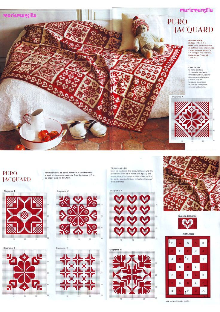 just a photo of beautiful red and white pattern - I think for knitting - but u can do cross-stitch embroidery or crochet too --- on a Russian site --- Вязание спицами: узоры для начинающих