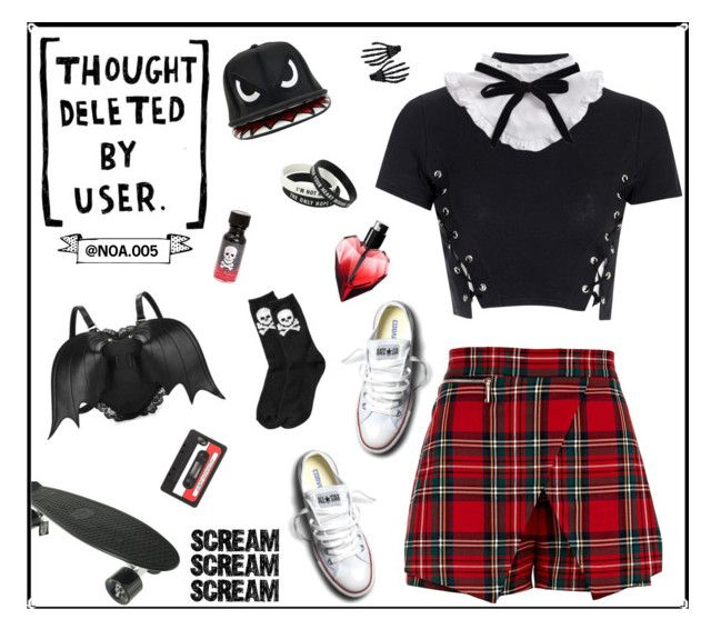 """""""SCREAM!!"""" by noa005 ❤ liked on Polyvore featuring Glamorous, River Island, Sephora Collection, Old Navy, Converse, Hot Topic and Marc by Marc Jacobs"""