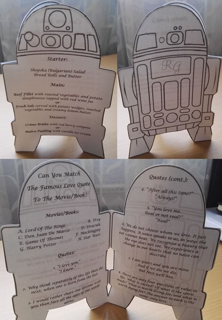 The Menu - with a little game to keep guests entertained...