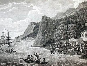 Ships of Meares arriving at Nootka Sound in 1788