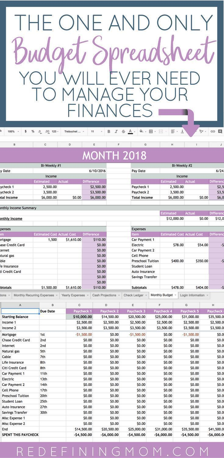 Easy Budget and Financial Planning Spreadsheet for Busy Families / How to make a budget/ Excel budgeting spreadsheet / monthly budgeting / budgeting for beginners / budgeting tips / financial planning for beginners @redefinemom #FinanceNotebook #FinanceSpreadsheet