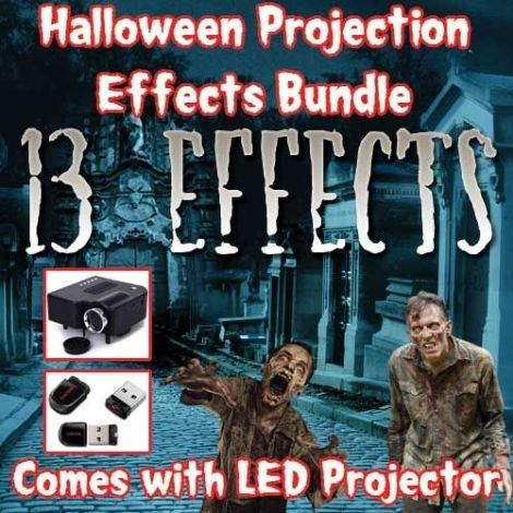 """HALLOWEEN PROJECTION EFFECTS BUNDLE    You get our LED Projector and """"13 HALLOWEEN PROJECTION EFFECTS"""" on a UBS Flash Drive """"Pre-Installed"""" into your LED Projector, everything is ready to go!    All you need is one of our projector screens to hang over a window, plug-in the Halloween Projector, find the UBS source, choose one of the 13 projection effects and hit the play button! - Setup only takes (2) minutes.    YOUR 8GB USB MINI FLASH DRIVE COMES WITH:    1) Spirits in the Cemetary  2)…"""