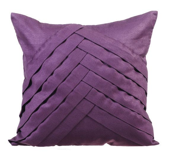 Purple Couch Cushion Covers 16 x 16 Pillow by TheHomeCentric