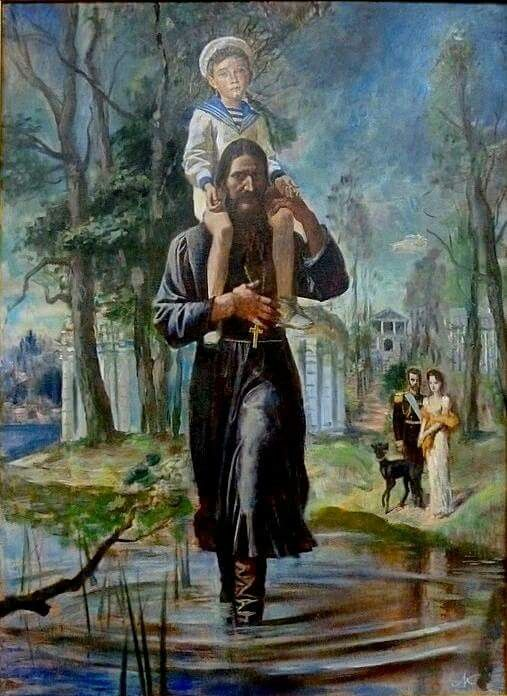 A painting of Tsarevich Alexei Nikolaevich Romanov of Russia on Grigori Rasputin's shoulders.The Tsar and Empress in the background.Painting by St Peterburg's painter,Michael G. Kudrevatykh.1990.A♥W