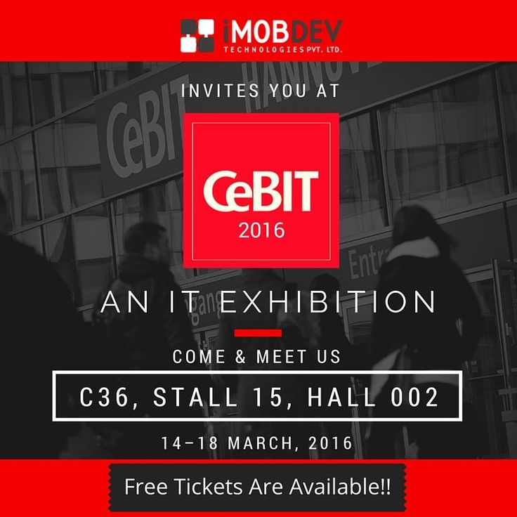 Free tickets for #CeBIT2016 is provided by iMOBDEV Technologies