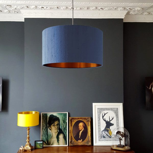 Indian silk dupion lampshade in smoke with a brushed copper lining #lovefrankie