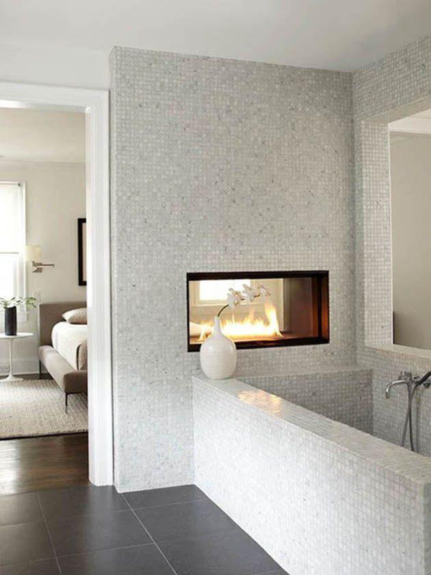 bathroom fireplace, white mosaic tile