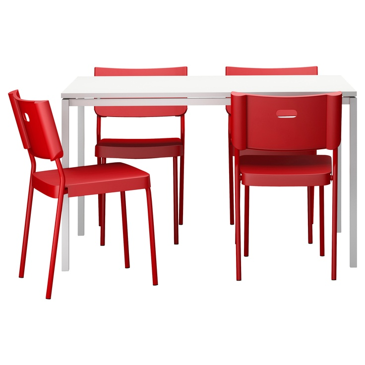 MELLTORP/HERMAN Table and 4 chairs - white/red - IKEA